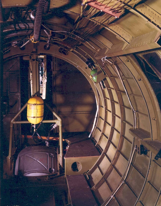 "Restored interior of the Boeing B-17G ""Shoo Shoo Shoo Baby,"" looking forward at aft entry door. (U.S. Air Force photo)"
