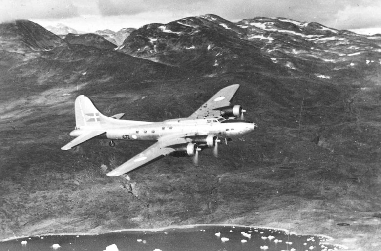 "Boeing B-17G ""Shoo Shoo Shoo Baby"" in flight.  The aircraft carried the name ""Store Bjorn"" while in service with Denmark. (U.S. Air Force photo)"