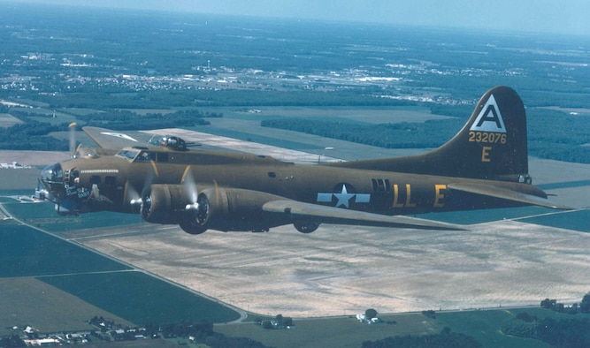 """Boeing B-17G """"Shoo Shoo Shoo Baby"""" en route to the National Museum of the United States Air Force on Oct. 12, 1988. (U.S. Air Force photo)"""