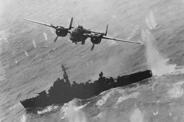 A North American B-25 makes a bomb run on a Japanese destroyer escort off Formosa in April 1945. (U.S. Air Force photo)