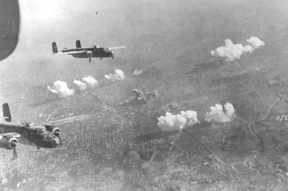 North American B-25s after bombing gun positions at Bologna, Italy. (U.S. Air Force photo)