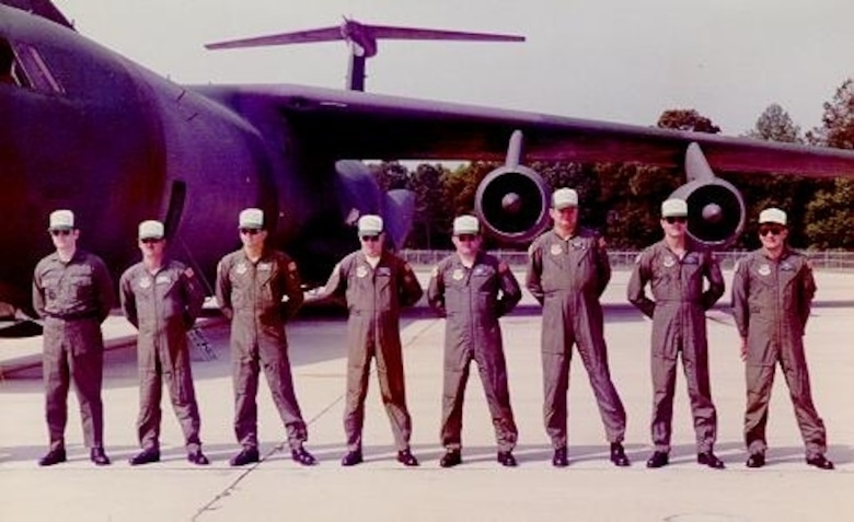 "Members of the 1984 315 Military Airlift Wing Rodeo Team pictured next to their C-141B.  The 1984 team captured the ""Best ERO"" award during the competition.  The 315 MAW was aligned under the 14 Air Force during this period, the famous ""Flying Tigers"" from WWII.  (USAF Historical Photograph)"