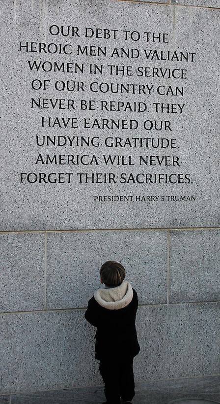 These words were part of President Harry Truman's address to a joint session of Congress April 16, 1945, shortly after President Franklin Roosevelt died. President Truman's address made clear that the United States would see World War II through to the end. (U.S. Air Force Photo/Staff Sgt. Olenda Peña-Perez)