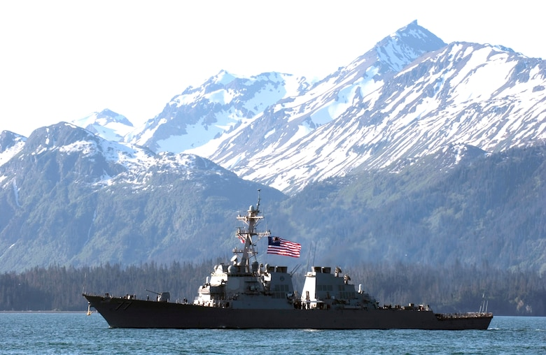 The USS O'Kane enters the harbor in Homer, Alaska, Sunday, June 4, 2006. The destroyer was participating in Exercise Northern Edge 2006. The joint training exercise, which runs from June 5 to 16 and is hosted by Alaskan Command, is one of a series of U.S. Pacific Command exercises that prepare joint forces to respond to crises in the Asian Pacific region. (U.S. Air Force photo/Senior Airman Garrett Hothan)