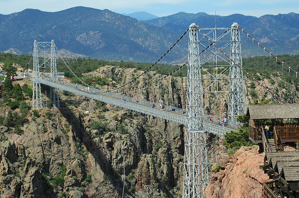 The Royal Gorge Bridge near Cañon City, Colo., is the highest suspension bridge in the world, standing 1,053 feet above the Arkansas River at the bottom of the canyon. Zebulon Pike's expedition into Colorado followed the Arkansas River, and his crew was the first group of American explorers to view the gorge.