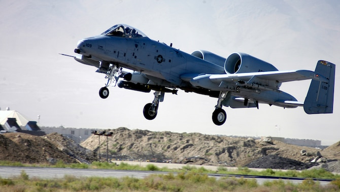 BAGRAM AIRFIELD, Afghanistan -- Col. Tony Johnson, an A-10 pilot from the 442nd Fighter Wing, takes off in an A-10 Thunderbolt II here June 14.  Colonel Johnson is deployed here to the 455th Expeditionary Operations Group.   (US Air Force photo/Maj. David Kurle)