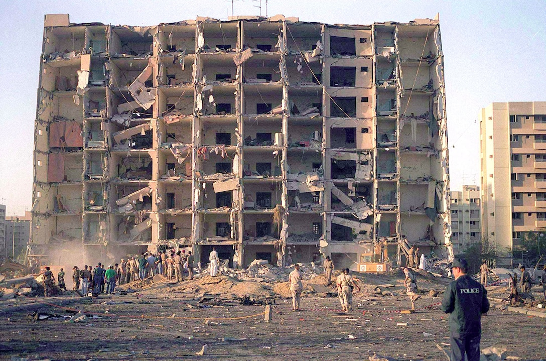 Nineteen Airmen died and hundreds were injured in the terrorist attack at Khobar Towers in Dhahran, Saudi Arabia, on June 25, 1996.  The front of Bldg. 131 was blown off when a fuel truck parked nearby was detonated by terrorists.  (Courtesy photo)