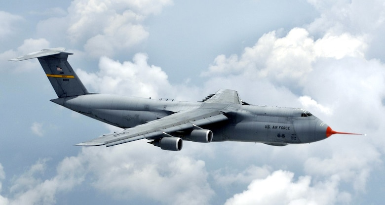 A modernized version of the C-5 Galaxy, known as the C-5M, made its maiden flight at Dobbins Air Reserve Base, Ga., on Monday, June 19.  Upgrades to the venerable airlifter include new, more powerful engines; a modern cockpit with a digital, all weather flight control system, a new communications suite and enhanced navigation and safety equipment.  (Lockheed Martin photo)