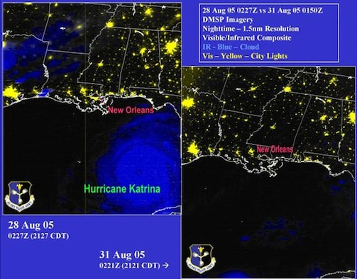 LOS ANGELES AFB, Calif. – These images show Defense Meteorological Satellite Program nighttime imagery of the Gulf Coast Region Aug. 31 compared to a satellite pass over the area Aug. 28 and again Sept. 7 – before and after Hurricane Katrina's impact on the area's power grid. (Images courtesy of Air Force Weather Agency)