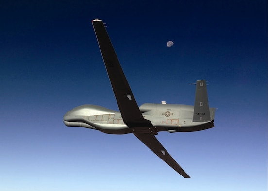 EDWARDS AIR FORCE BASE, Calif.— The last Block 10 production Global Hawk soars over the Mojave Desert on its way to Edwards Air Force Base for acceptance and operational check flights by the 452nd Flight Test Squadron before delivery to Beale Air Force Base, Calif. (Air Force photo by Jim Shryne)