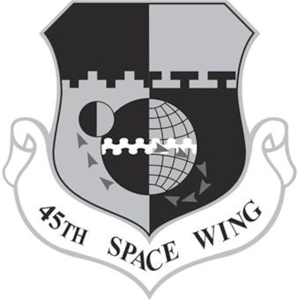 45th Space Wing Shield (Black).  Image provided by HQ, AFSPC/PAC.  In accordance with Chapter 3 of AFI 84-105, commercial reproduction of this emblem is NOT permitted without the permission of the proponent organizational/unit commander. Image is 8.2x8.3 inches @ 300 ppi
