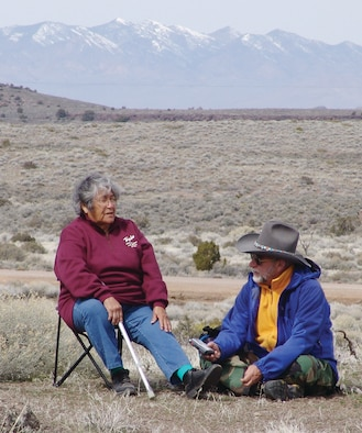 Timbisha Shshone (left) is interviewed by Dr. Richard Stoffle, associate research professor at the Bureau of Applied Research in Anthropology at the University of Arizona. Research has shown that the Black Mountain, Nev., volcanic landscape has special cultural significance to Native American tribes in the area. (Courtesy photo)