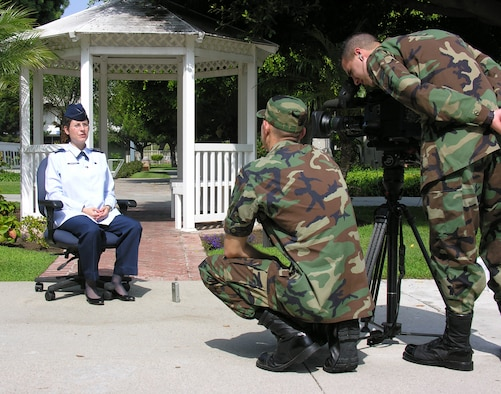 LOS ANGELES AFB, Calif. – An Air Force News team interviews Chaplain (Capt.) Sarah Schechter here Aug. 10 as part of a larger story on diversity in the Air Force. Chaplain Schechter serves with the 61st Air Base Group Chaplain Service Division at Los Angeles AFB and is the first female rabbi in the Air Force. (Photo by 1st Lt. Lori Dockendorf)