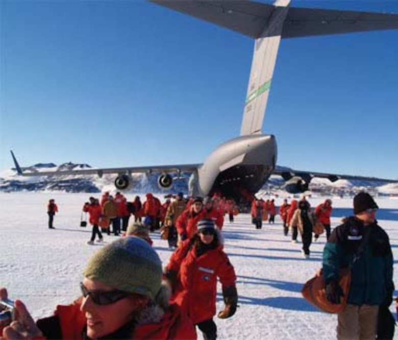 ANTARCTICA- U.S. Antarctica Program participants arrive at the Annual Sea Ice Runway at McMurdo Station, Ross Island, Antarctica. The C-17 jets are flown by 446th AIrlift Wing, an Air Force Reserve unit at McChord Air Force Base, Wash.,  in support of the U.S. Antarctic Program. (National Science Foundation courtesy photo by Andre Fleuette)