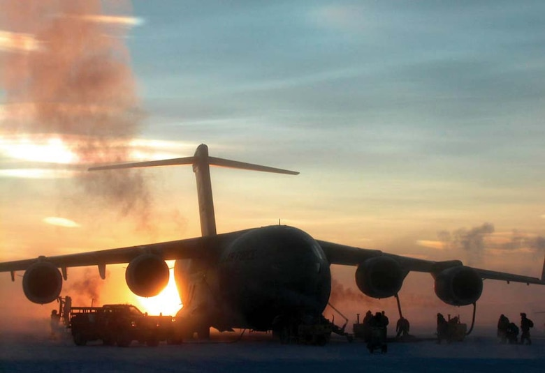 ANTARCTICA - A C-17 from McChord Air Force Base, Wash.,  sits on the ice in Antarctica after 446th Airlift Wing Reserve aircrews deliver cargo to McMurdo Station. (U.S. Air Force photo by Maj. Steve Mortensen)
