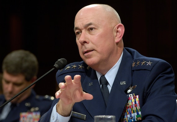 Air Force Chief of Staff Gen. T. Michael Moseley answers questions during a Senate Armed Services Committee hearing Thursday, March 2, 2006, in Washington, D.C.  (U.S. Air Force photo by Master Sgt. Jim Varhegyi)