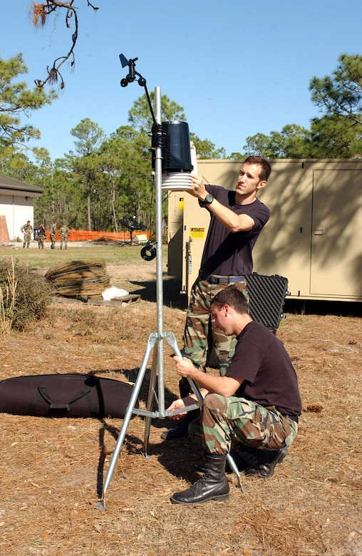 Staff Sgt. Ralph Nehring and Capt. Steve Maile, 16th Operations Support Squadron, set up the Davis Tactical Weather Obeserving Station at an exercise Wednesday. The exercise is in preparation for the upcoming Operational Readiness Inspection.