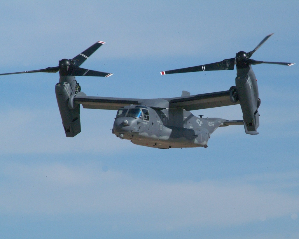 The first Block B/10 CV-22 converts between airplane and helicopter modes during a flight at the Bell Helicopter facility in Amarillo, Texas. (Photo courtesy Bell Helicopter)