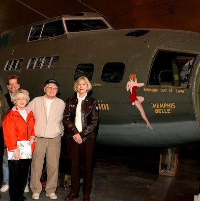 "DAYTON, Ohio -- ""Memphis Belle""™ pilot's widow, Linda Morgan, and Bud Brinkmeyer visit the ""Memphis Belle"" at the National Museum of the U.S. Air Force. (U.S. Air Force photo)"