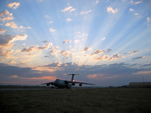 A C-5 from the Air Force Reserve Command's 433rd Airlift Wing at a deployed location gets ready to depart on another mission in support of Operation Iraqi Freedom. (US Air Force Photo by Capt. Jeremy Angel, 357th Airlift Squadron)
