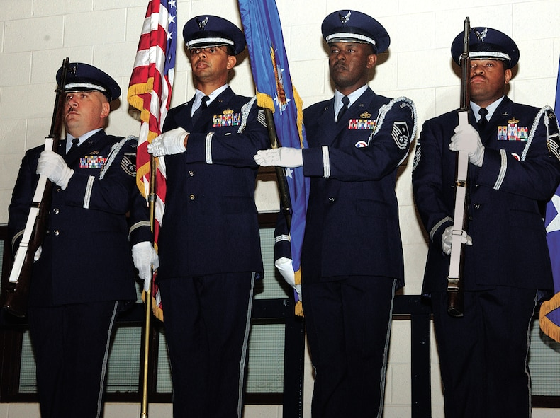 "CANNON AIR FORCE BASE, N.M. -- The 27th FW Honor Guard initiated the change of command ceremony with the ""presentation of the colors."""