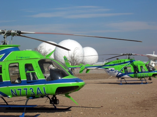 BUCKLEY AIR FORCE BASE, Colo. -- Airlife (Flight for Life) helicopters land at Buckley AFB as part of the bi-annual emergency medical services conference. This was the first time the conference was held here.