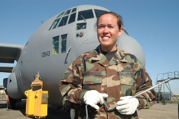 Staff Sgt. Connie Frick Rothlisberger is a C-130 crew chief with the 653rd CLSS. (Air Force photo by Sue Sapp)