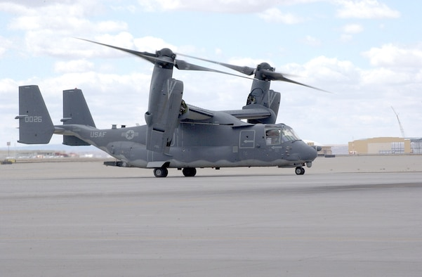 Air Force Special Operations Command's first CV-22 Osprey arrives at Kirtland Air Force Base, N.M., Monday, March 20, 2006. The aircraft will be flown by Airmen with the 58th Special Operations Wing.  (U.S. Air Force photo/Staff Sgt. Markus Maier)