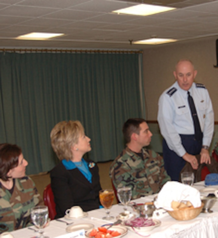 NIAGARA FALLS AIR RESERVE STATION, N.Y.- General T. Michael Moseley briefs  Senator Clinton and guests at the Falcon Club at Niagara Falls Air Reserve Station during a recent visit to the base.  (Photo by: TSgt. Denise Hauser 107th ARW)