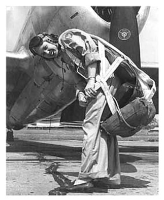 Deanie Parish as a WASP on the flightline at Tyndall Air Force Base, Fla., in the early 1940s. (Courtesy photo/Deanie Parrish)