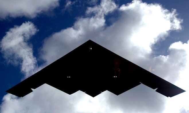 A B-2 Spirit lands at Andersen Air Force Base, Guam, on Sunday, April 30, 2006. B-2s are replacing the B-1B Lancers at Andersen as part of the continuous bomber rotation. (U.S. Air Force photo/Airman 1st Class Michael S. Dorus)