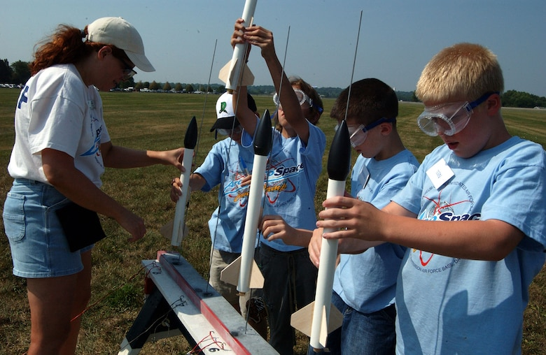 DAYTON, Ohio -- Students prepare to launch rockets during Aerospace Camp at the National Museum of the United States Air Force. (U.S. Air Force photo)