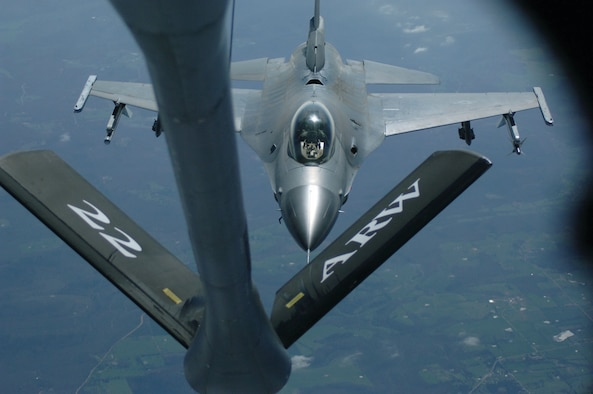 An Arkansas Air National Guard F-16C from the 188th Fighter Wing at Fort Smith, Ark., prepares to receive fuel from a KC-135R Stratotanker. The aircraft was crewed by members of the 931st Air Refueling Group's 18th Air Refueling Squadron.