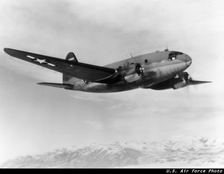 The C-46 Commando gained fame by flying the treacherous Himalayan supply routes during WWII, known as the Hump.  The C-46 was normally operated by a crew of four and could carry 50 troops and transport 15,000 pounds of cargo.  (USAF Historical Photo)