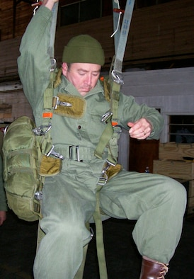 Lt. Col. William Jordan immerses himself into the characters of the past he portrays. He is shown here training with the World War II Airborne Demonstration Team at Frederick Army Airfield in Frederick, Okla. (Courtesy photo)