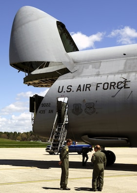 HANSCOM FIELD, Mass. - A C-5A Galaxy from Westover Air Reserve Base, Mass., stopped here May 4. Hanscom Airmen learned about the aircraft's capabilities and its role in supporting the Air Force mission. (Air Force photo by Mark Wyatt)