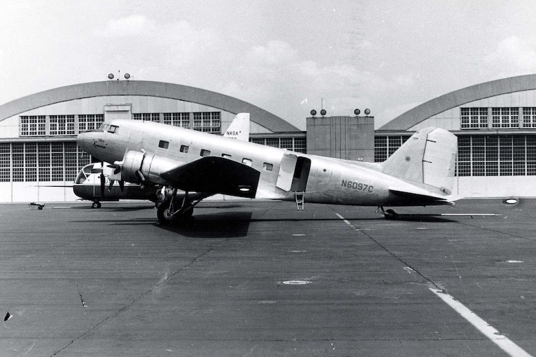 """DAYTON, Ohio -- The Douglas C-39 is currently in storage at the National Museum of the United States Air Force. This photo shows N6097C """"The Kansan"""" when it was received by the museum. (U.S Air Force photo)"""