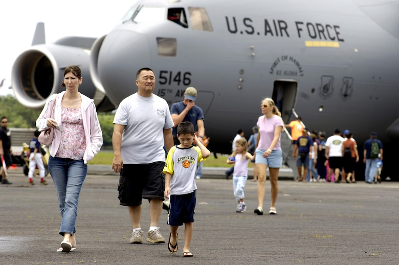 Visitors have the opportunity to see Air Force aircraft such as the C-17 Globemaster III on Saturday, May 20, 2006, during an Armed Forces Day air show at Hilo International Airport, Hawaii.  The Hawaii Air National Guard hosted the show to give the public a chance to view various aircraft stationed in Hawaii and to generate public interest in the military. (U.S. Air Force photo/Tech. Sgt. Shane A. Cuomo)