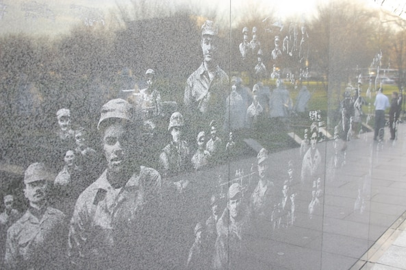 The Mural Wall in Washington, D.C. was built to honor members of the U.S. Armed Forces who served in the Korean War, particularly those who were killed in action or are still missing or prisoners of war. The mural consists of 41 panels extending 164 feet. Its designers used more than 15,000 photographs from the National Archives to create the mural, which depicts Army, Navy, Marine Corps, Air Force and Coast Guard personnel and their equipment.