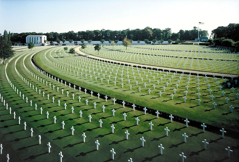 The U.S. cemetery in Cambridge, England, contains the remains of 3,812 American war dead from World War II.  It is one of 24 American cemeteries overseas administered by the American Battle Monuments Commission (Courtesy photo)