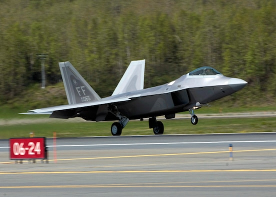 An F-22 Raptor lands at Elmendorf Air Force Base, Alaska, on Tuesday, May 23, 2006. Raptors from the 27th Fighter Squadron at Langley AFB, Va., are supporting Exercise Northern Edge 2006. The Air Force selected Elmendorf as the home for the next operational F-22 squadron. The base will receive 36 Raptors, with the first jet expected in fall 2007. (U.S. Air Force photo/Tech. Sgt. Keith Brown)