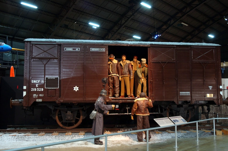 """DAYTON, Ohio -- """"Forty and Eight"""" boxcar on display in the World War II Gallery at the National Museum of the United States Air Force. (U.S. Air Force photo)"""