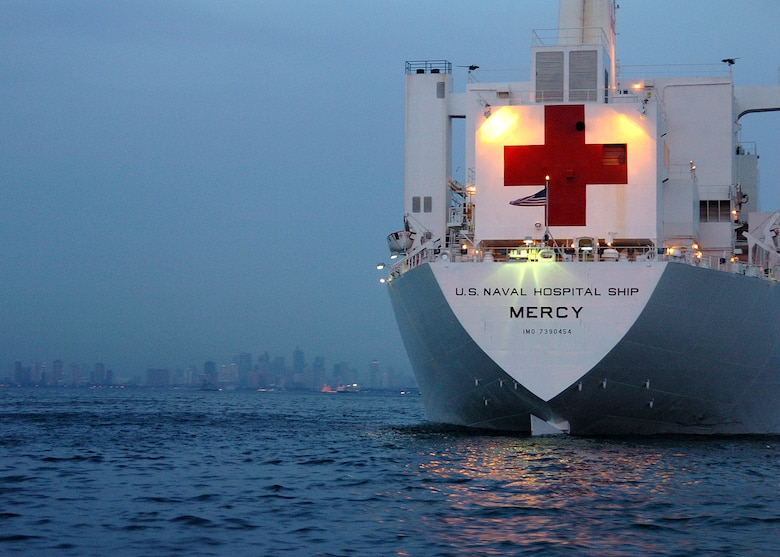 The U.S. Navy hospital ship USNS Mercy is anchored off the coast of Manila, the Philippines.  Three Airmen from the 374th Medical Group at Yokota Air Base, Japan, are deployed on the ship as it delivers aid and humanitarian assistance to Southeast Asia.  (U.S. Navy photo/Photographers Mate 2nd Class Troy Latham)