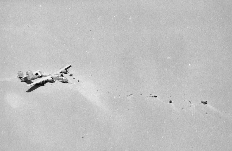 "The Consolidated B-24D ""Lady Be Good"" as it appeared when discovered from the air. (U.S. Air Force photo)"