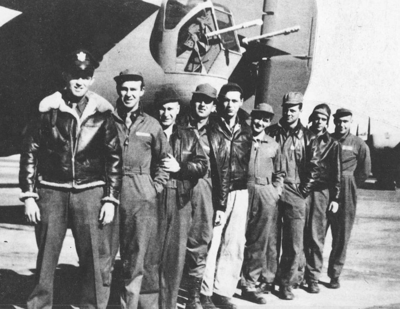 "The ill-fated crew of the Consolidated B-24D ""Lady Be Good,"" from the left: 1Lt. W.J. Hatton, pilot; 2Lt. R.F. Toner, copilot; 2Lt. D.P. Hays, navigator; 2Lt. J.S. Woravka, bombardier; TSgt. H.J. Ripslinger, engineer; TSgt. R.E. LaMotte, radio operator; SSgt. G.E. Shelly, gunner; SSgt. V.L. Moore, gunner; and SSgt. S.E. Adams, gunner. (U.S. Air Force photo)"