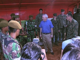 SEWON, Indonesia (May, 31, 2006) ? U.S. Ambassador to Indonesia Lynn Pascoe visits Indonesian soldiers and Okinawa-based Marines and sailors as they establish mobile surgical and acute care facilities here for victims of the May 27 earthquake that struck Java Island. About 100 Marines and sailors from III Marine Expeditionary Force will be answering the call for help from the Indonesian government by providing medical assistance. (Official U.S. Marine Corps photo by 1st Lt. Eric C. Tausch).