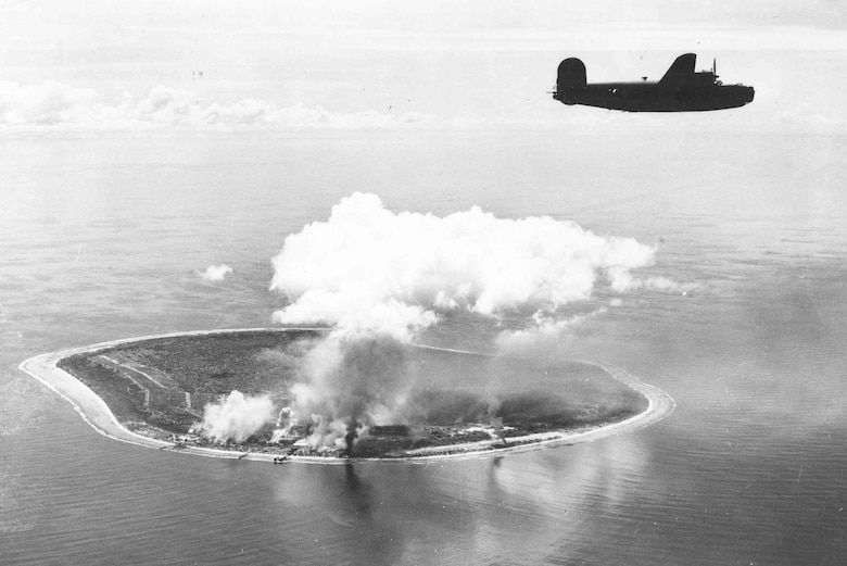 A 7th Air Force B-24 heads for home after a strike against facilities on Nauru in the Gilberts in August 1943. (U.S. Air Force photo)