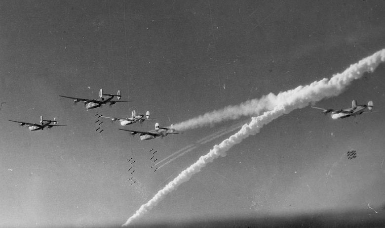 Consolidated B-24s on a bombing run. (U.S. Air Force photo)