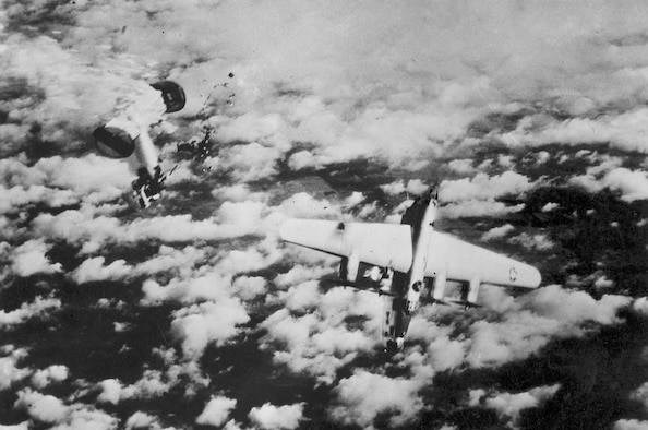 A Consolidated B-24, its rear fuselage blown off, begins its plunge to destruction on German soil. (U.S. Air Force photo)
