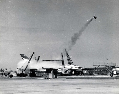 Convair B-58 capsule ejection static test from the XB-58, (S/N 55-0661). (U.S. Air Force photo)